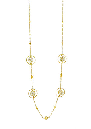 Embedded Flower Round Hoop  Geometric Necklace Gold Finish