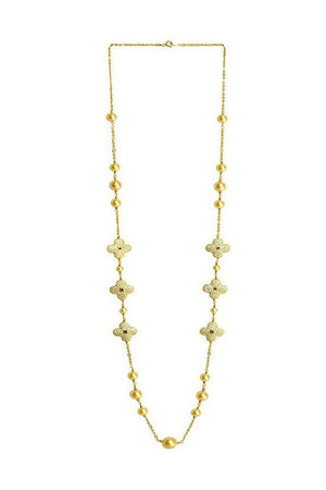 Floral Pearl Necklace  Gold
