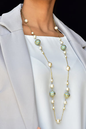 Enamel Meena and Pearl Necklace Lifestyle