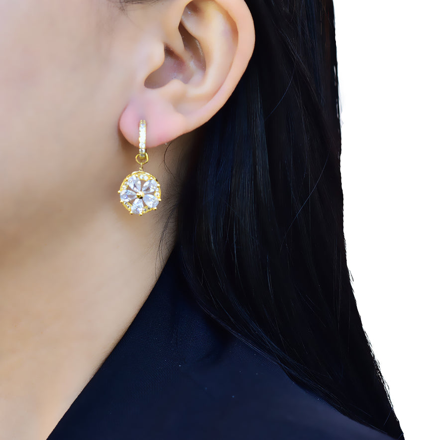 Embedded Flower Huggie Hoop Earrings Gold Lifestyle