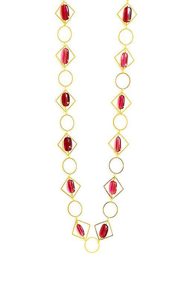 Tumble  Loop Geometric Long  Necklace Pink Finish