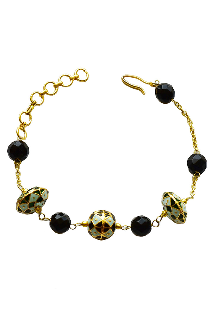 Painted Enamel and Black Onyx Bracelet