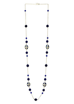Blue Agate with Cubic Zirconia Long Necklace