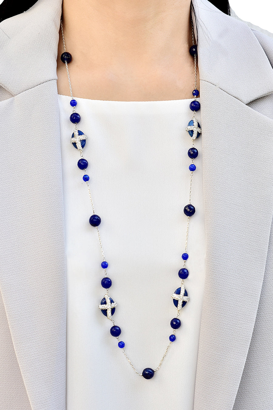 Blue Agate with Cubic Zirconia Long Necklace Lifestyle