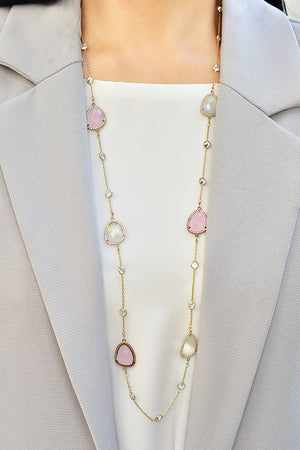 Coloured stone long necklace