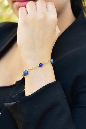 Silver Gold Plated Bracelet with Lapis Lazuli & Iolite