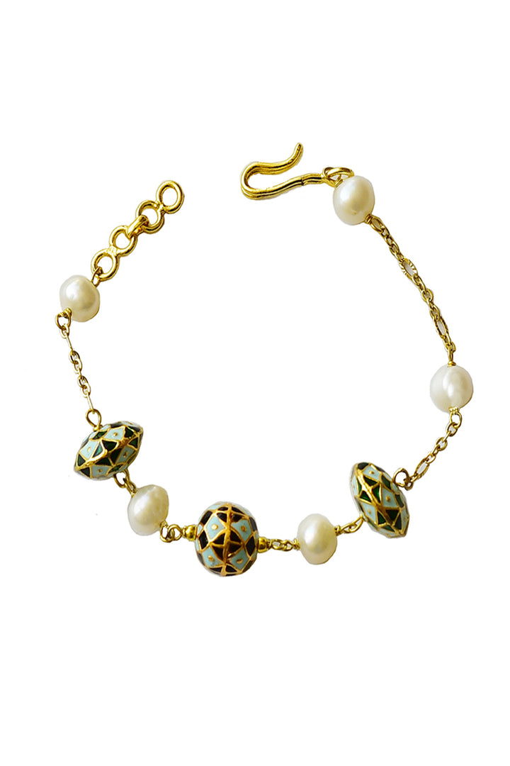 Nyla  Bracelet - Pearl and Painted Enamel Bracelet