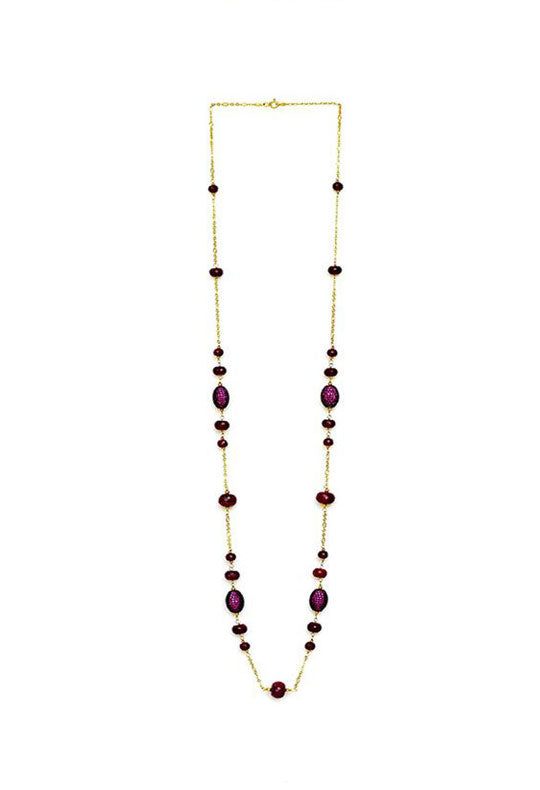 Ruby and Cubic Zirconia Barrel Bead Long Necklace in 925 Sterling Silver Chain