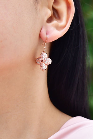 Floral Cubic Zirconia Dangle Earrings Rose Gold Lifestyle