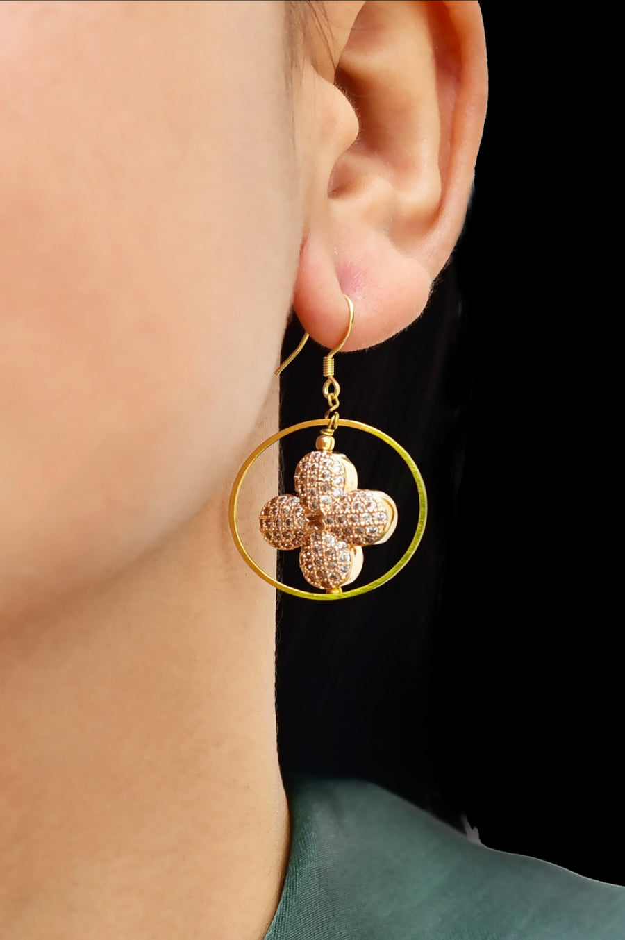 Floral Cubic Zirconia  Geometric Earrings Gold Lifestyle