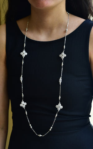 Floral Cubic Zirconia Necklace in 925 Sterling Silver