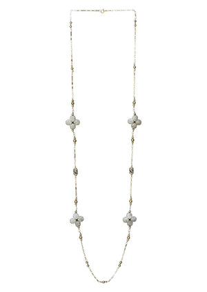 Floral Cubic Zirconia Necklace Silver