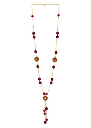 Painted Enamel Meena Bead Tassel Necklace