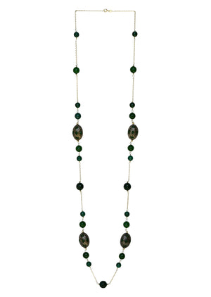Sterling Silver Long Beaded Necklace Green