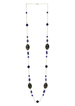 Sterling Silver Long Beaded Necklace Blue