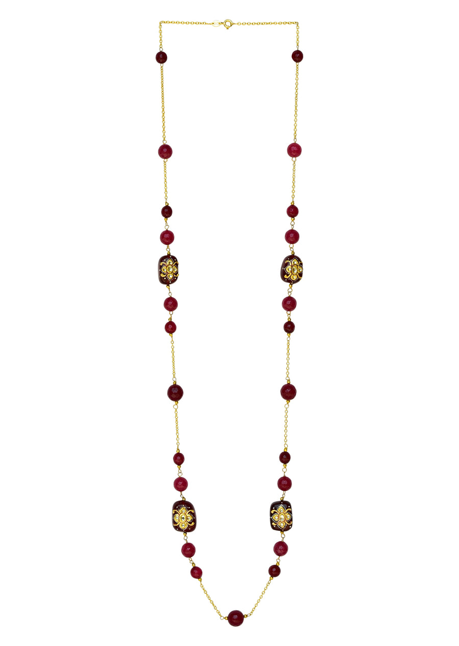 Sajida Long Necklace (Cream)- Embossed Bead