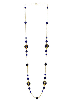 Pearl & Handcrafted 'Caged' Bead Necklace Blue Finish