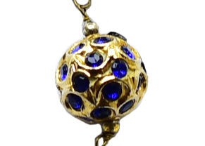 Handcrafted Filigree Bead Long Necklace with Lapis Lazuli in 925 Sterling Silver Chain