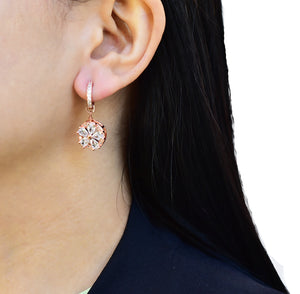 Zora Huggie Hoop Earrings - Embedded Flower
