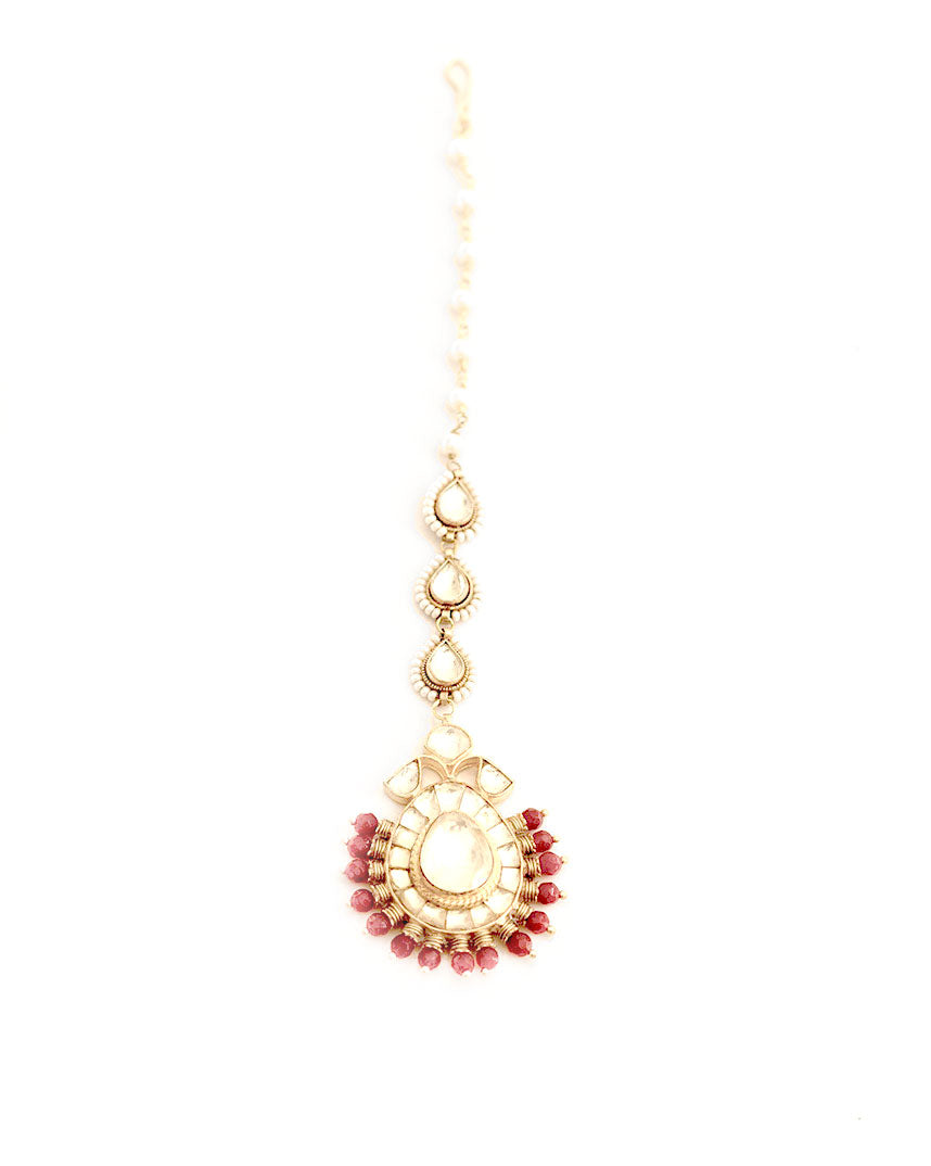 Gold Plated Pearl and Kundan Mangtika