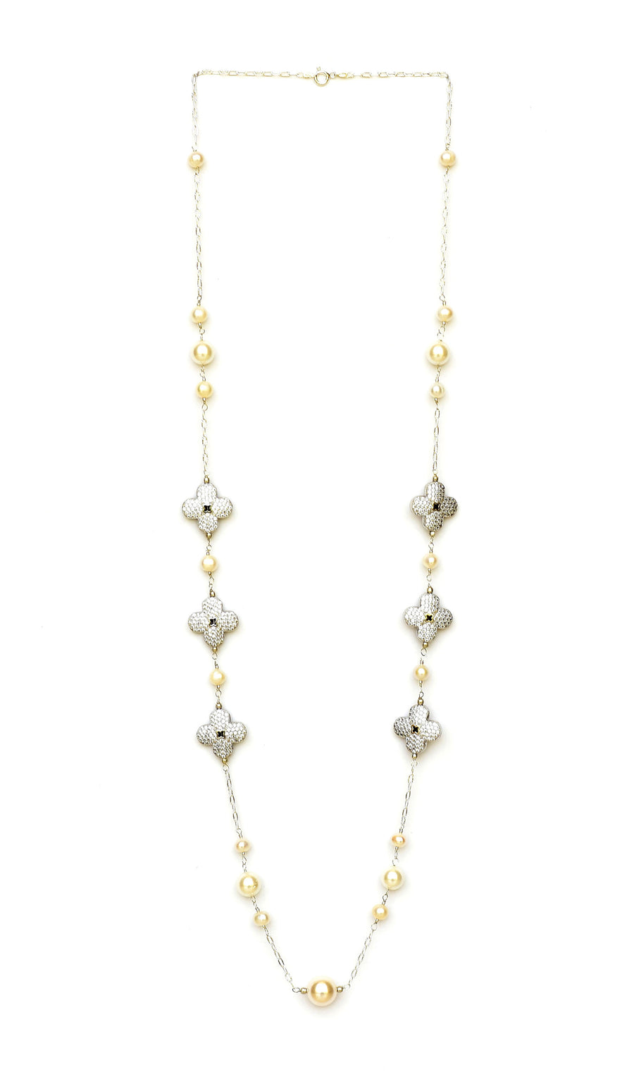 Yellow Silver Floral Cubic Zirconia Pearl Necklace