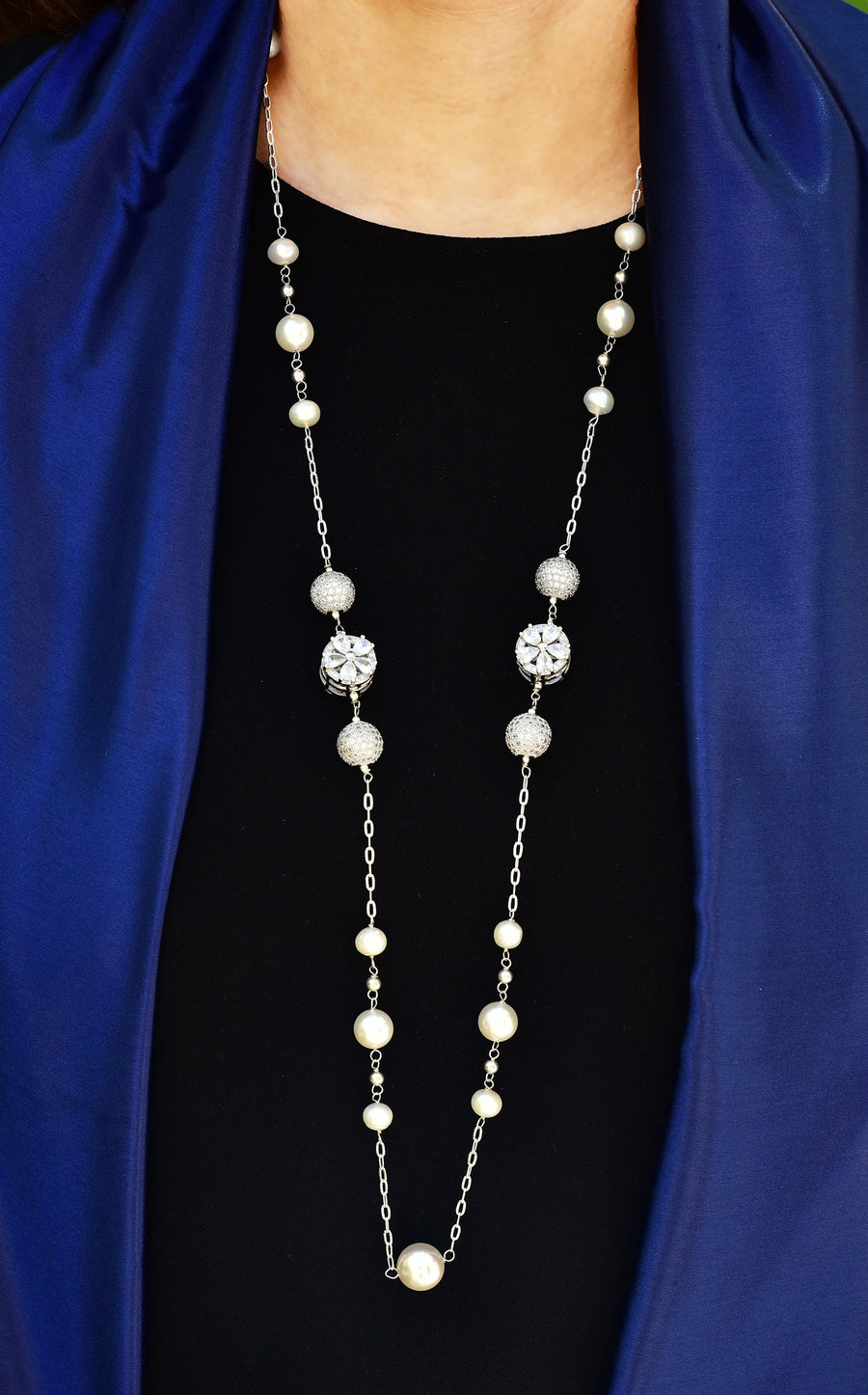 Embedded Flower and Ball Cubic Zirconia Pearl Necklace Silver Lifestyle