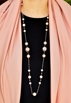 Embedded Flower and Ball Cubic Zirconia Pearl Necklace Rose Gold Lifestyle