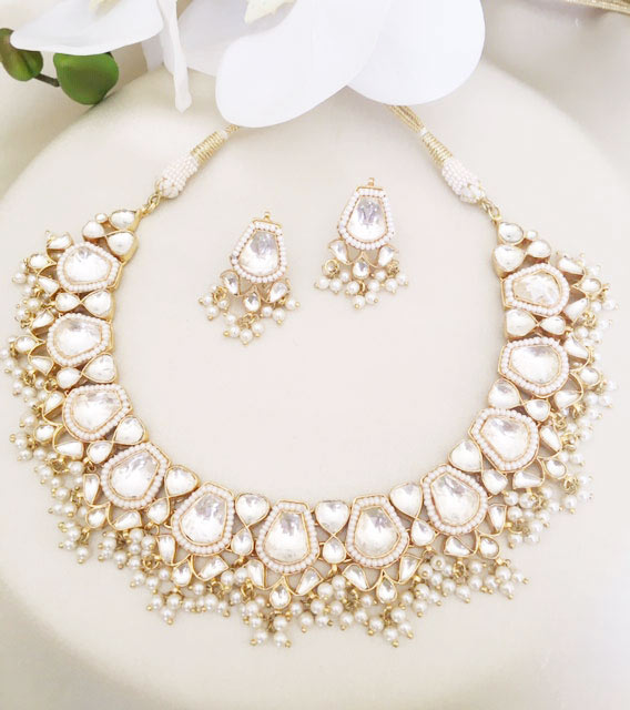Kundan with  Necklace and  Earrings with Pearl