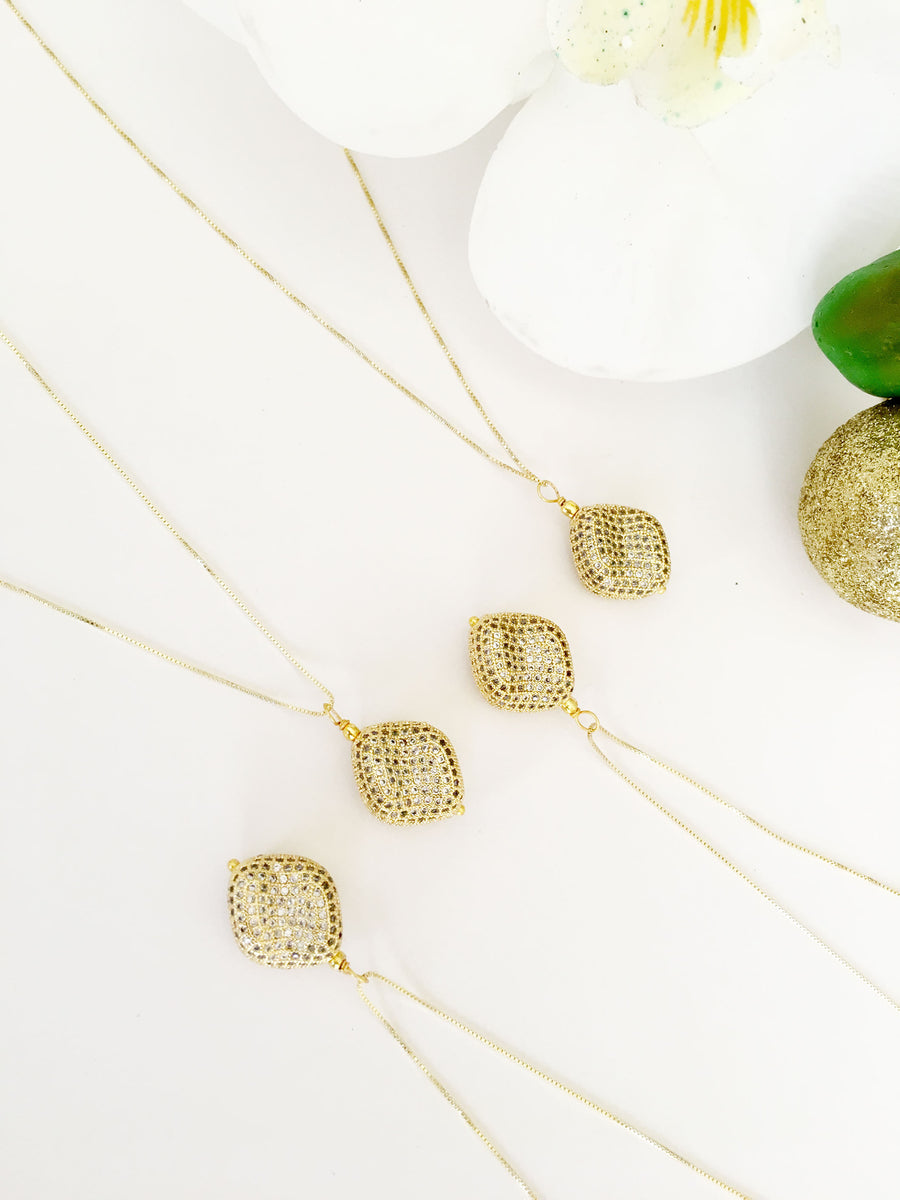 Natasha Nugget Pendant Necklace Gold