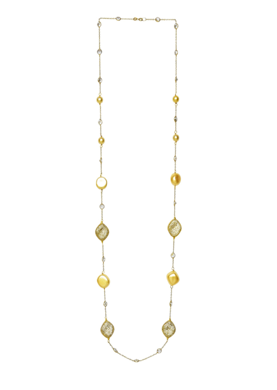 Cubic Zirconia Nugget & Pearl Necklace Gold Finish