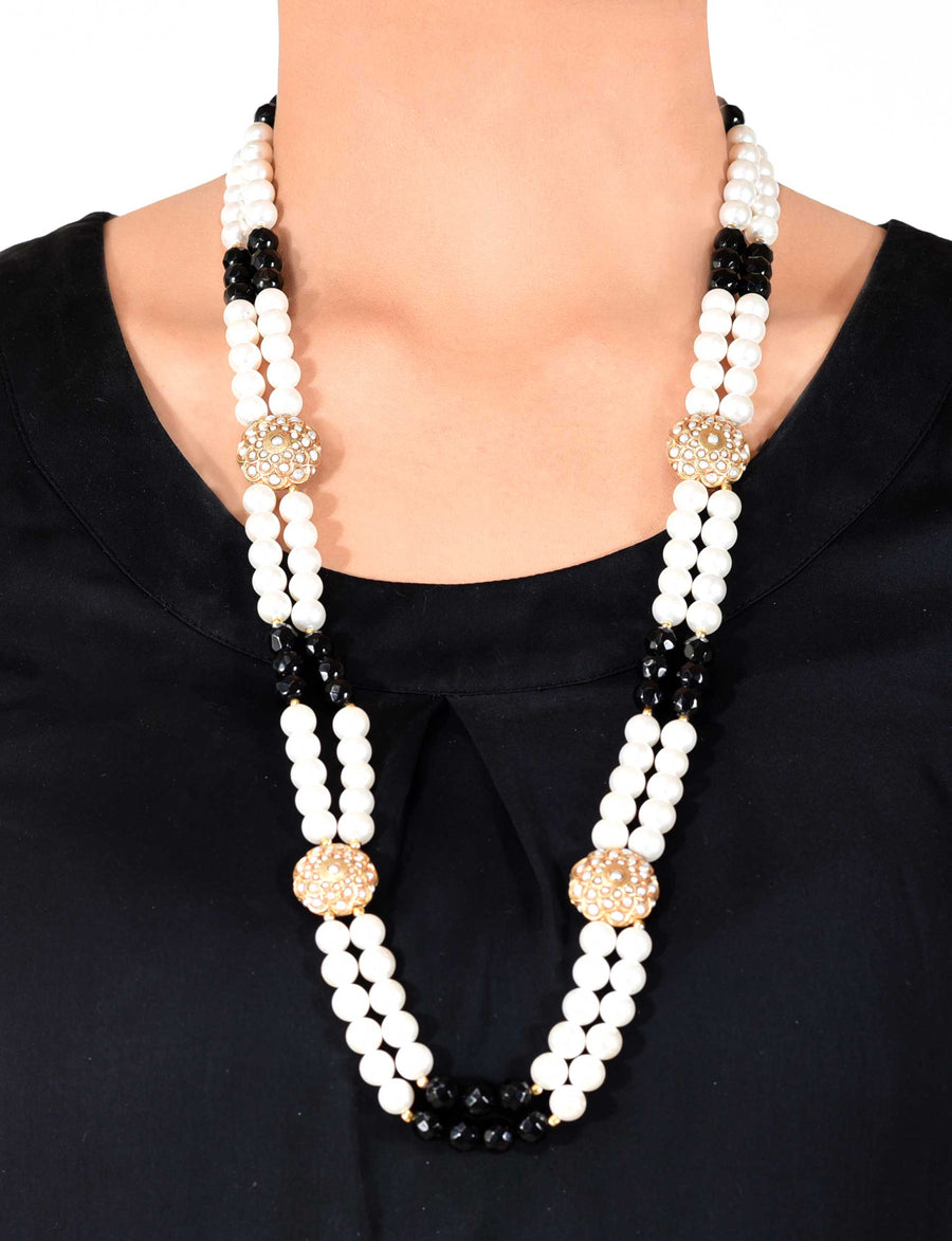 Silver Gold Leafed Necklace  with Pearl and Black Onyx