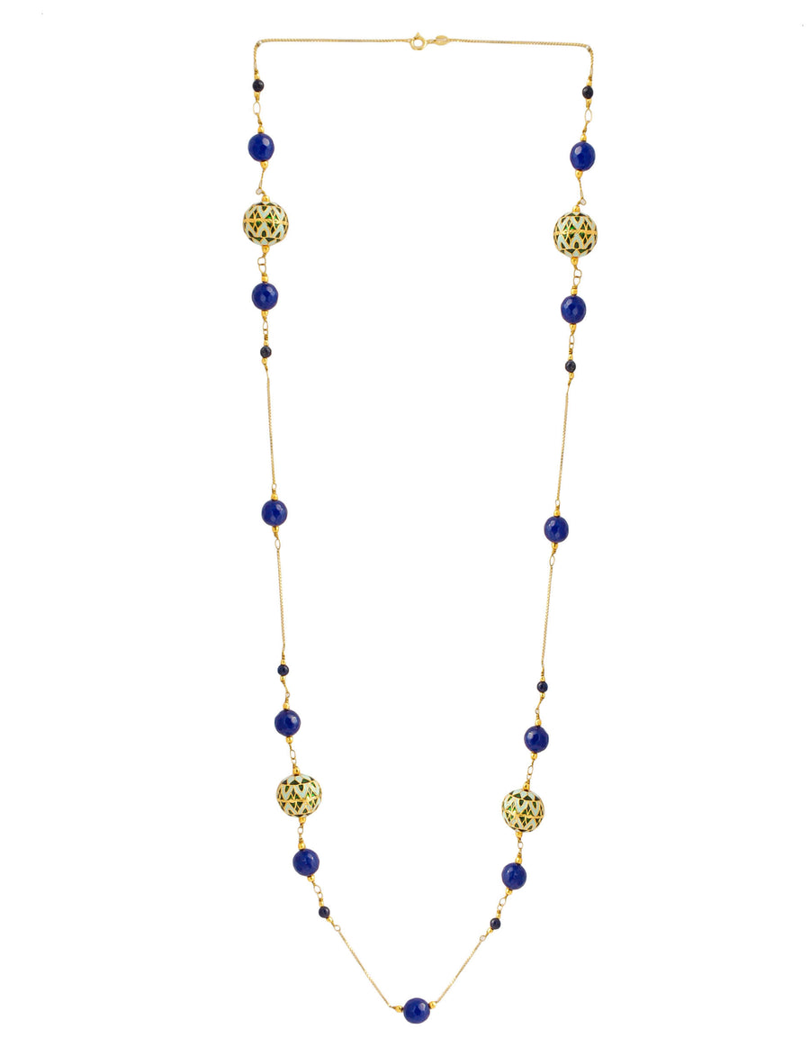 Painted Enamel Meena Bead Necklace with Lapis Lazuli in 925 Sterling Silver Chain