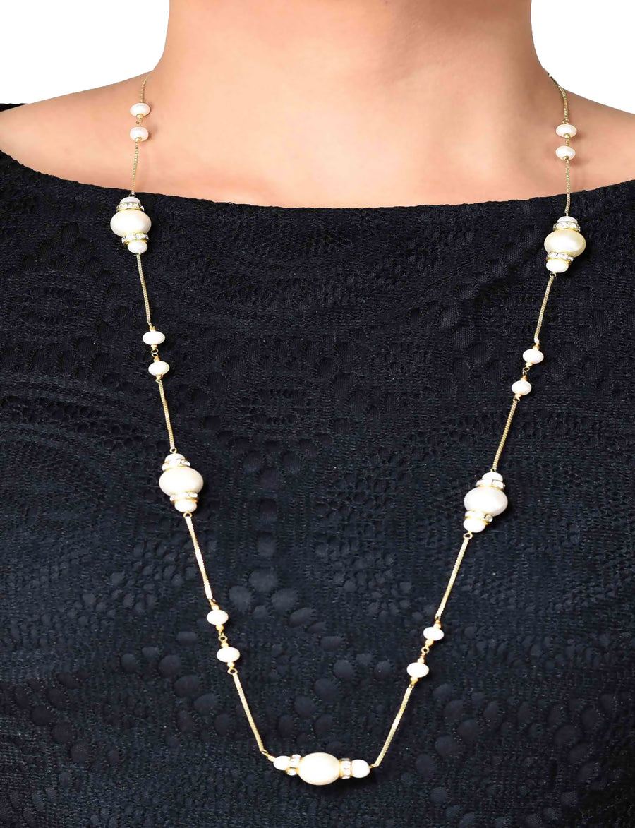 Pearl and  Diamante  Necklace in 925 Sterling Silver Chain