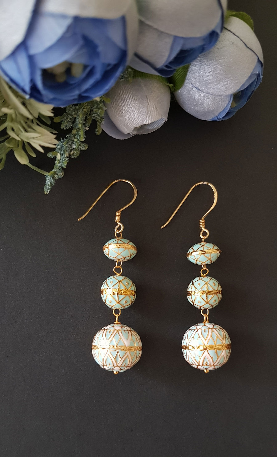Zeina - Painted Enamel Meena Earrings