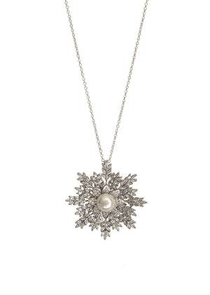 Snowflake Brooch Pendant Necklace