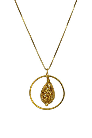 Drop Filigree Pendant Necklace-Pendant-thejewelsjarstore-Circle-M's Gems DMCC