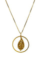 Drop Filigree Pendant Necklace Gold Finish