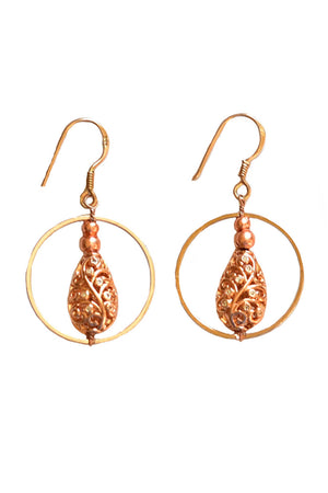 Drop Filigree Round Hoop Earrings