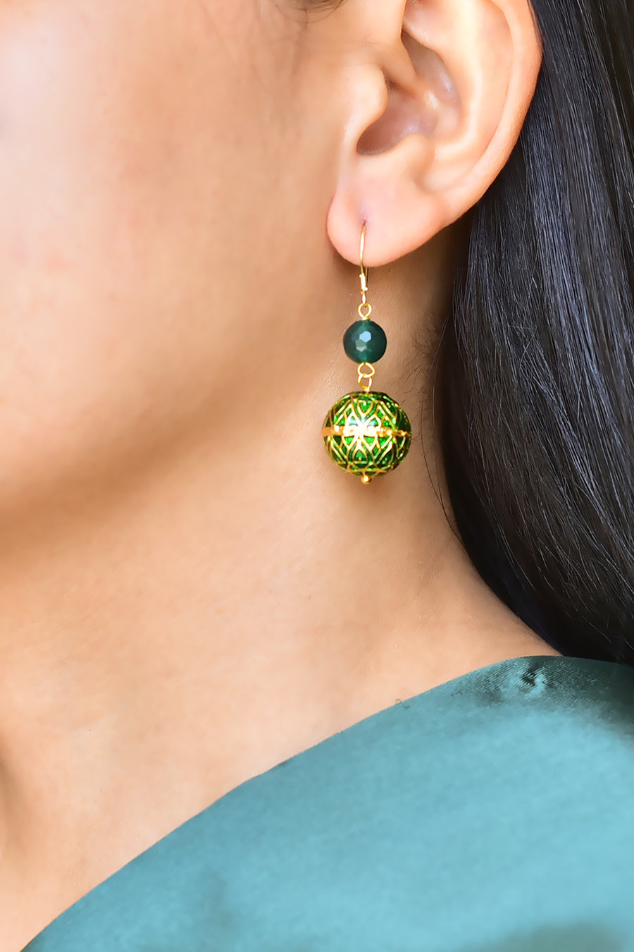 Painted Enamel  Meena Earrings