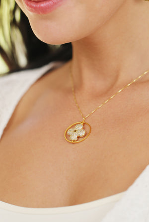 Floral Geometric Cubic Zirconia  Pendant Necklace Gold Lifestyle