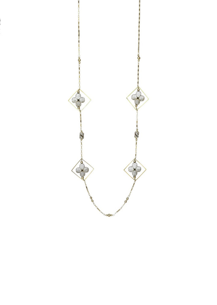 Floral Cubic Zirconia Geometric Long Necklace Silver Finish