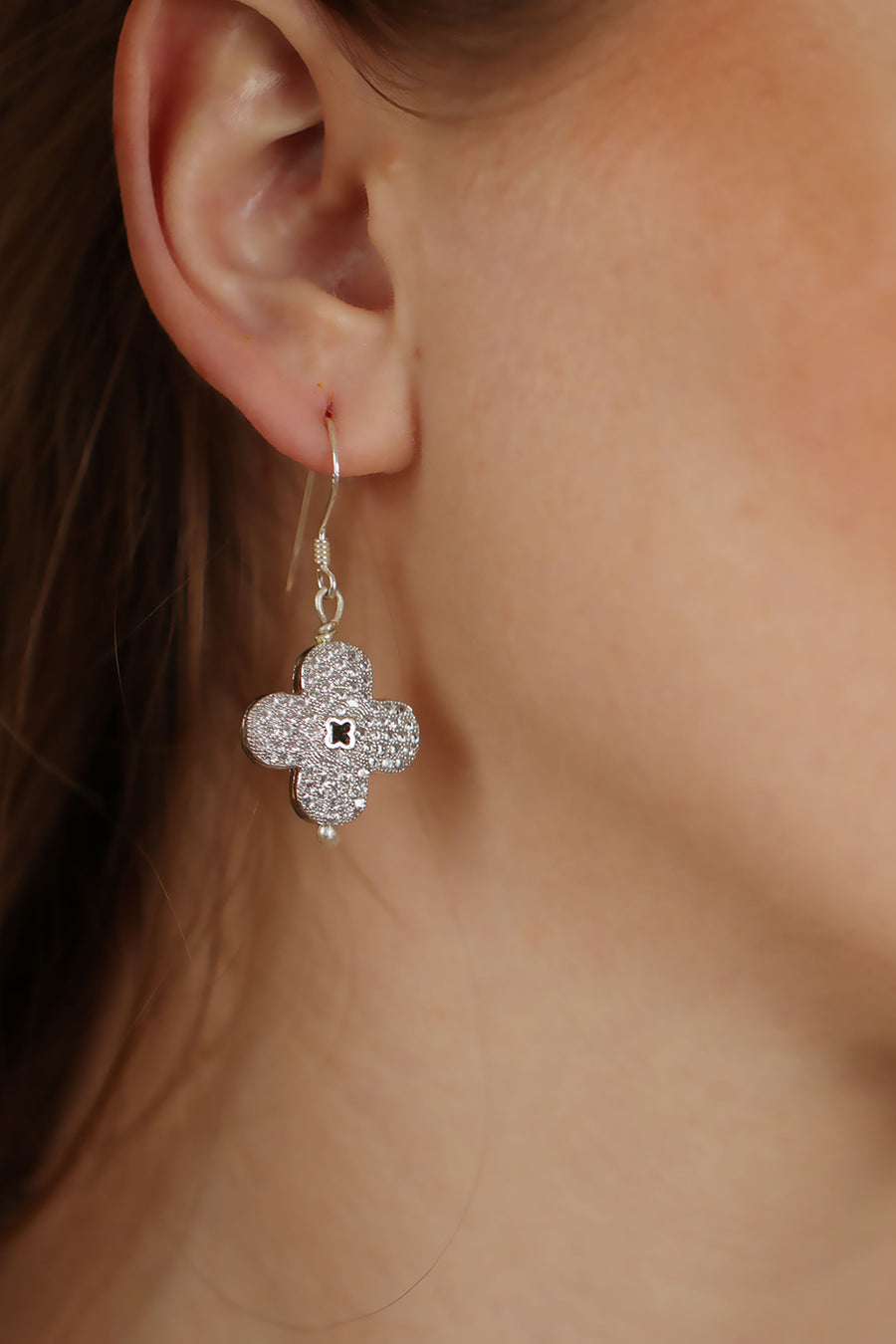 Floral Cubic Zirconia Dangle Earrings Silver Lifestyle