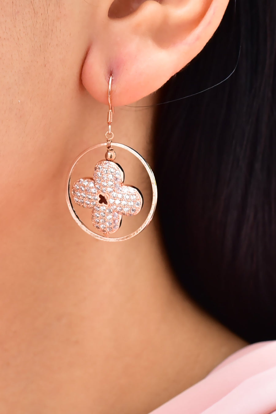 Floral Cubic Zirconia  Geometric Earrings Rose Gold Lifestyle