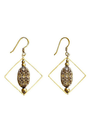 Nadia Earrings (Gold) - Square Hoop