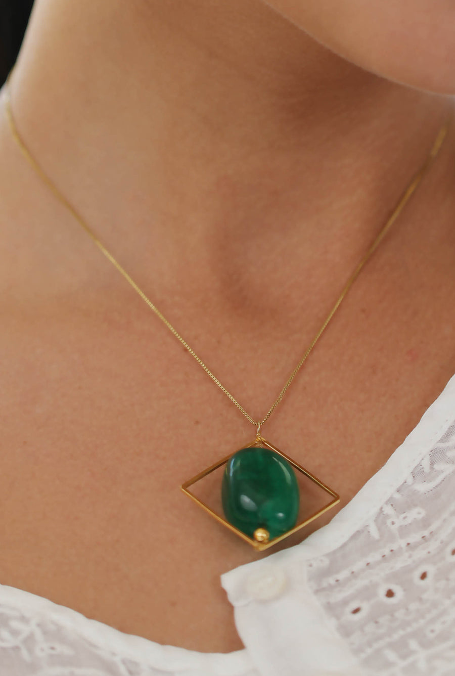 Liana Pendant Necklace (Green) - Tumble Stone Square