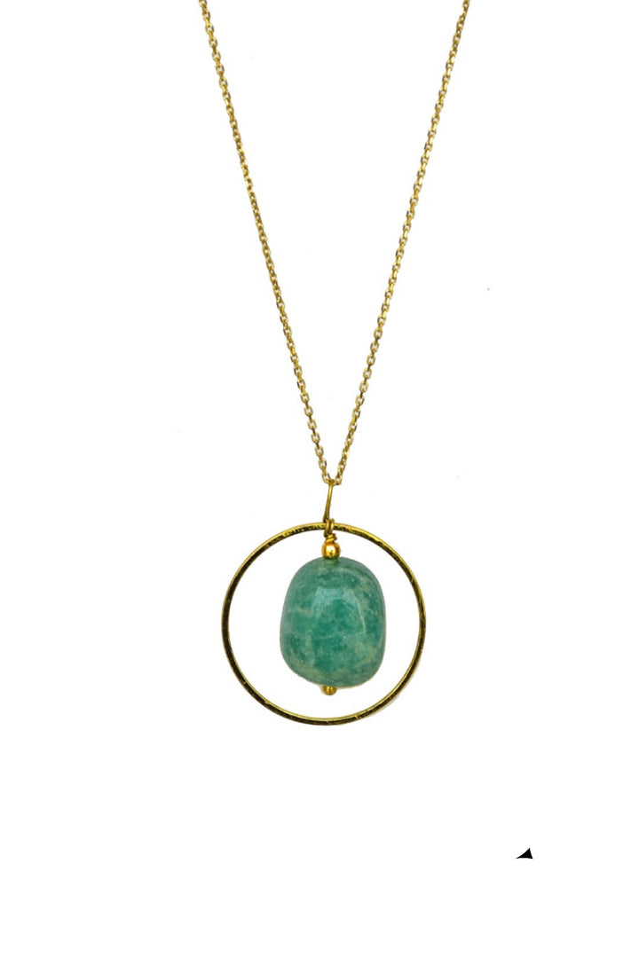 Green Tumble Square Loop Geometric Pendant in Gold Tone Silver Chain