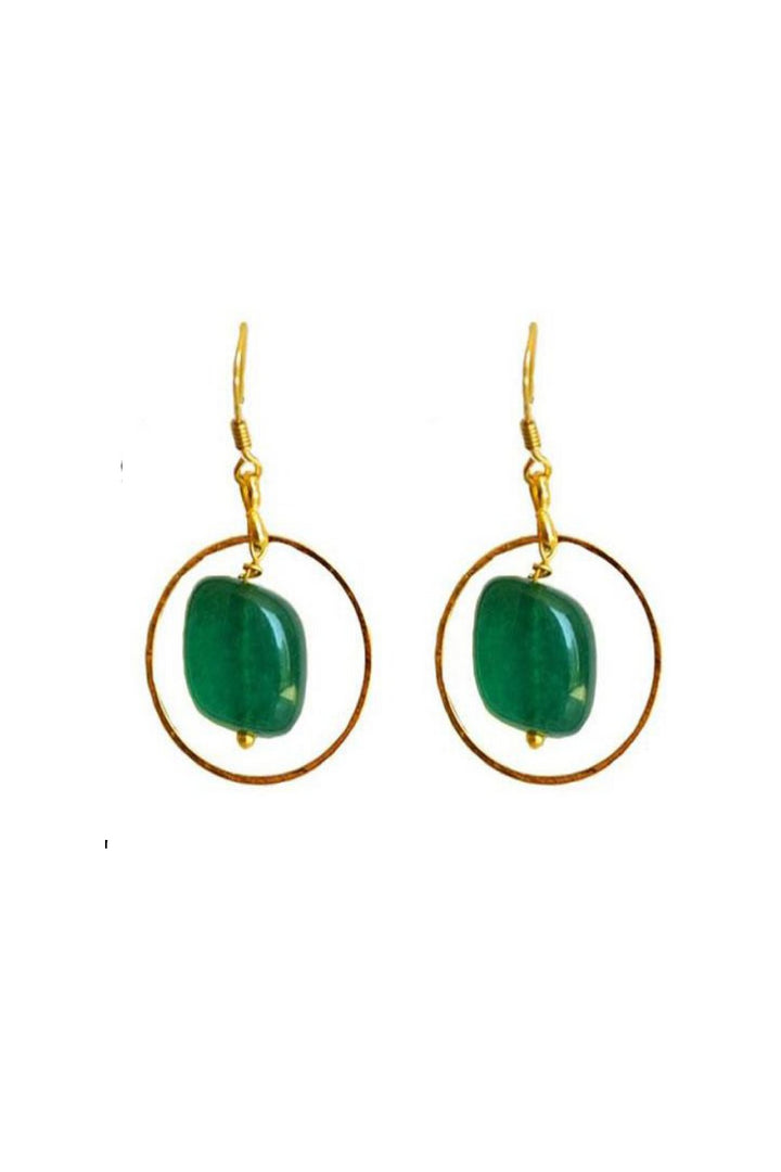 Liana Earrings - Green Tumble Stone Round Hoop