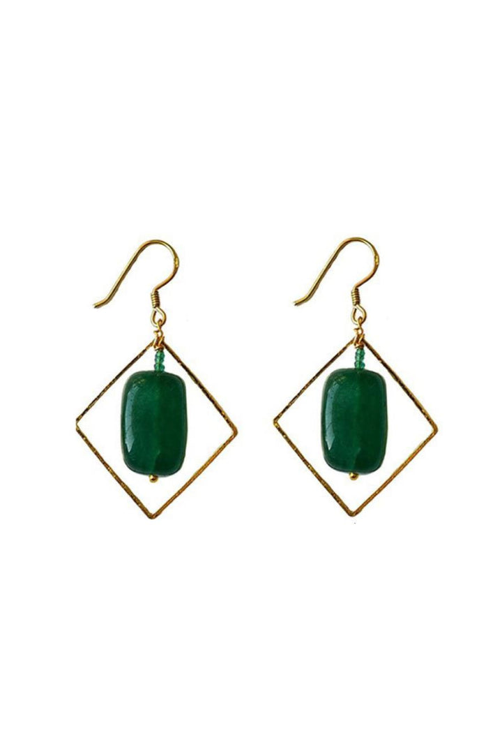 Liana Earrings (Square) - Green Tumble Stone