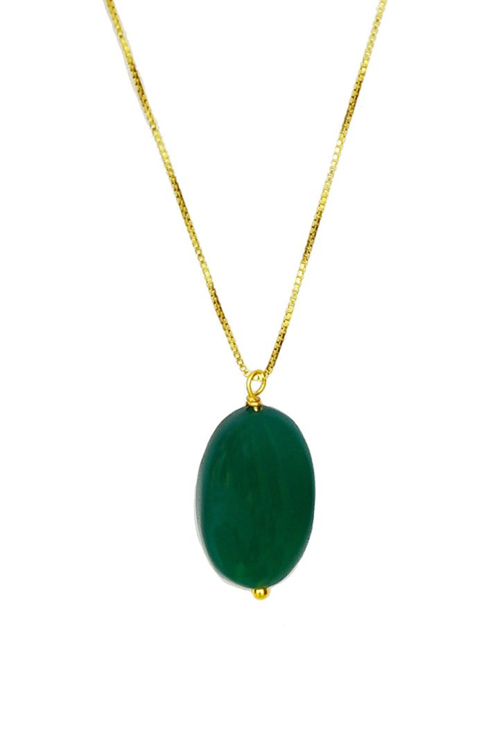 Green Onyx Tumble Stone Pendant Necklace-Pendant-thejewelsjarstore-M's Gems DMCC