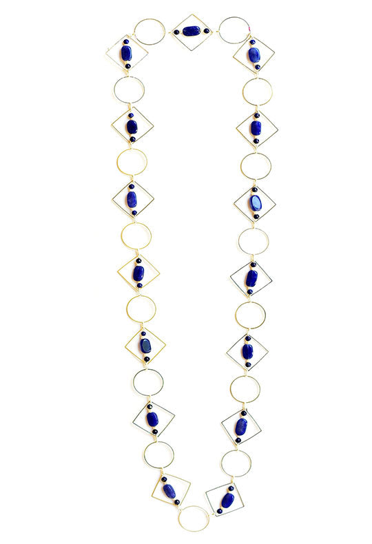 Blue Tumble and Pearl Loop Geometric  Long Necklace